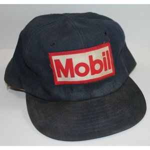 Mobil Gas Station Trucker Cap Hat Destroyed VTG